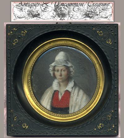 Superb Hand Painted 1820s French Portrait Miniature, Gutta Percha Frame
