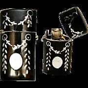 SALE Antique French Sterling & Faux Tortoise Shell Etui, Perfume Flask - Tortoiseshell