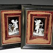 SOLD Superb Pair Antique Limoges Enamel Plaques, Ebony Frames, French Kiln-fired Enamels