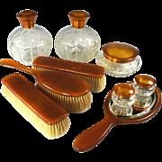 SALE Antique 9 Pc. Vanity Set, Blond Faux Tortoise Shell - 5 Jars, Cologne, Brushes & Mirror .