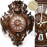 "SALE Massive Antique Victorian Era Black Forest 30"" Wall Clock, Fruits of the Hunt Theme"