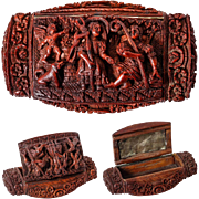SALE C. 1800 Hand Carved Corozo or Coquilla Nut Snuff or Patch Box, Angel, Dog ...