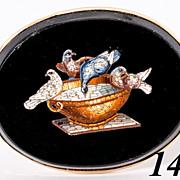 Antique c 1860 Victorian Era Micromosaic Brooch, 9k Gold, Micro Mosaic Doves of Pliny