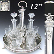 "SALE RARE Antique French Sterling Silver 12"" Cabaret or Liquor Tantalus, Butterfly +"