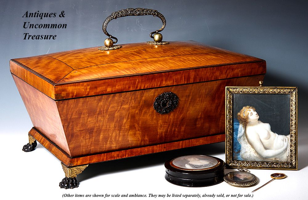 Large Antique 1700s French Jewelry Chest Sewing Box