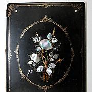 SALE Antique Victorian Papier Mache Desk Top Blotter, Folio w/ Inlaid Mother of Pearl