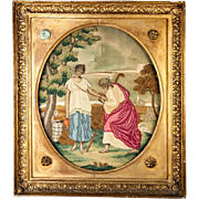 SALE Fine Antique 1700s English Silk Work Embroidery Tapestry, Sampler in Frame, Woman at the