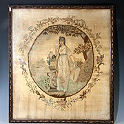 SALE Superb Antique Georgian English Silk Work Embroidery Tapestry in frame, Tomb, Symbolism