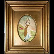 SALE Antique Georgian Silk Work Embroidery Tapestry, Sampler, in Ornate Frame, Farm Girl