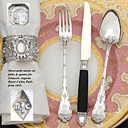 Elegant Antique French Sterling Silver 36pc Luncheon or Dessert Flatware Set