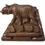 SOLD Antique Hand Carved Black Forest Book Rack, 2 Bears, Breinz & Glass Eyes