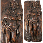 """SALE Antique 1600s French Hand Carved Figure of Jesus Christ (?), 13"""" x 6"""" x 2"""""""