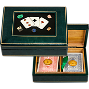SALE Vintage Italian Cards Box, Pietra Dura Playing Cards Plaque & Leather