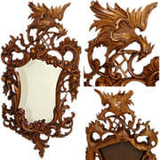"SALE Fantastic LG Antique to Vintage Carved 22"" Wall Mirror, Ornate Rococo Style with Phoeni"