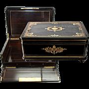 "SALE HUGE c.1830 Antique French Boulle Chest, Box, 24"" x 17"" Cashmere or Trousseau"