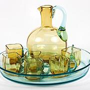 SALE Antique French Liqueur Set, Decanter, 6 cups, Tray, Georges Sand