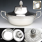 Antique French Sterling Silver Ecuelle, Tureen Style Serving Dish with Lid