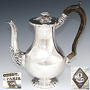 SALE ODIOT: Antique French Sterling Silver Solitaire Coffee or Tea Pot, Teapot