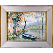 SALE Vintage Watercolor Painting in Frame, Serenity - Lake Pastoral with Boat
