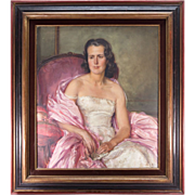 SALE Beautiful c1940-50 French Oil Painting Portrait of a Pink Lady, Fine Frame, 37 ...