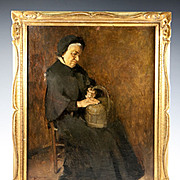 SALE Henry Jacquier (1878-1921) Antique French Portrait in Oil Painting, Frame, An Elderly Wom