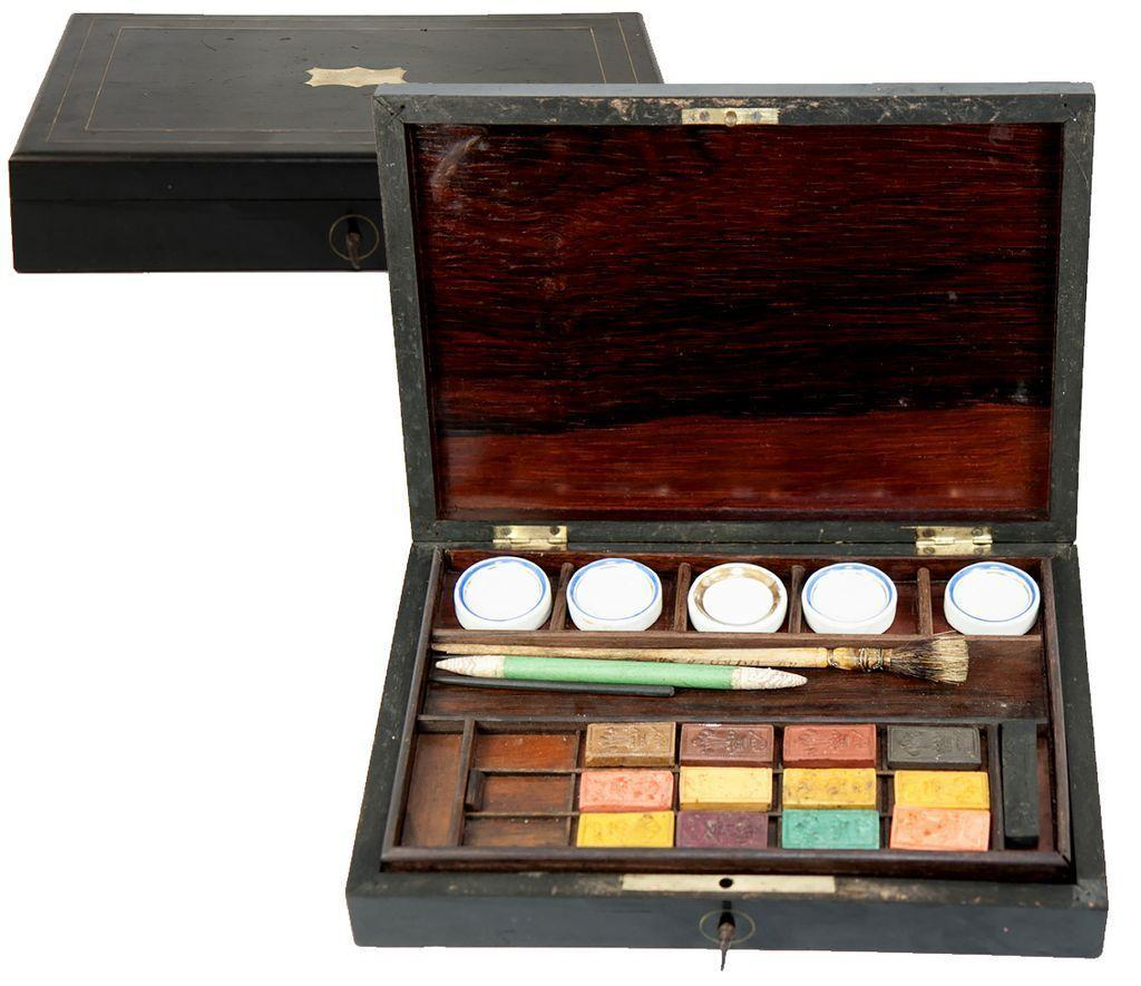 Antique French Water Color Paint Set Wood Box Chest Aquarelle From . Full resolution‎  snapshot, nominally Width 1024 Height 885 pixels, snapshot with #B07C1B.