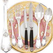 SALE Exquisite Antique French Sterling Silver 72pc Flatware Set, Rococo Style, 6pc Setting