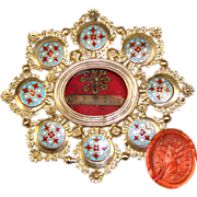 SOLD Superb Antique French Reliquary, Champleve Enamel & Gilt Ormolu Frame, Wax Seal