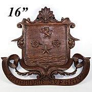"SALE Large Hand Carved Black Forest Plaque 16"" Armorial Crest with Lion Passant, Star, Sh"
