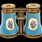 SALE Large Antique French Kiln-Fired Enamel Opera Glasses, Celeste or Sevres Blue Floral, c ..