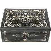 """SALE Antique Vervelle 14.5"""" Sewing or Table, Jewelry Box, STUNNING Inlays, Animals, Dog,"""
