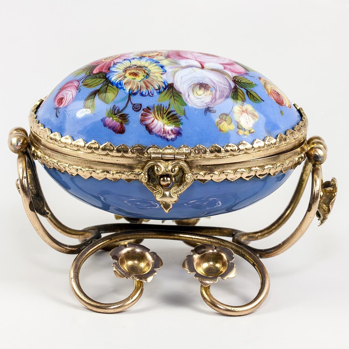 Fine Antique French Kiln Fired Enamel Jewelry Casket Box