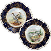SALE Pair (2) Antique c1860s Minton Hand Painted Game Plates, Raised Gold Enamel & Cobalt