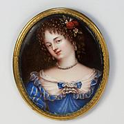 SALE PENDING RARE Antique Kiln-fired Enamel Portrait Miniature, French Masterpiece, Beautiful