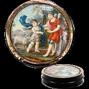 SALE Antique French Snuff Box, Portrait Miniature Mount in 18k Gold, c.1780-1830. Children ...