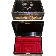 SALE Large Antique Victorian Jewelry Chest Casket, Papier Mache & MOP