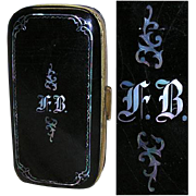 Fab Antique Victorian Papier Mache Cigar Case, MOP Inlay & Monogram