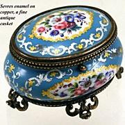 SALE Antique French Sevres Enamel Jewelry Box, Casket, Ormolu - Gilt Bronze Frame, Acanthus ..