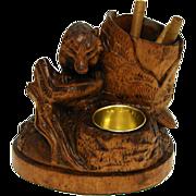 SALE Antique Black Forest Cigar & Match Stand, Rare Fox Figure !