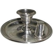 SALE Fine 1880s Victorian Silver Plated Candle Holder, Chamberstick