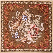 "SALE RARE 14.5"" Sq. Antique Victorian Beadwork Needlepoint Panel"