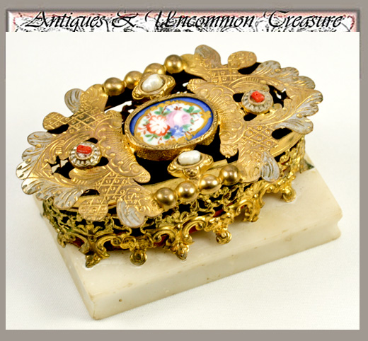 RARE Antique French Palais Royal Sewing Etui, Porcelain Plaque and Jewels: Pearl & Coral