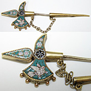 SALE Antique Micro Mosaic Sweater Pin, Brooch Sword with Dove