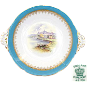 "Antique Coalport 10"" Cake or Pie Dish, Windsor Castle Scene"