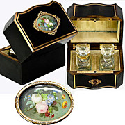 SOLD Antique French TAHAN Scent Caddy, HP Miniature, Perfumes - Complete with original bottles
