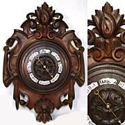 """SOLD Large Antique Victorian Era Black Forest Carved Oak 19.5"""" Wall Barometer, Enamel Pla"""