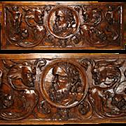 """SALE 1650-1800 Renaissance Revival Carved 31"""" Architectural Plaque, Grotesques & Putti"""