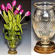 SALE Fine Antique French Vase, Empire Dore Bronze Base, Baccarat Crystal