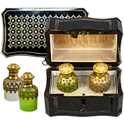 SALE Superb Antique  French Scent Casket, Caddy, 2 Opaline Perfume, Cologne Bottle, Napoleon I