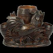 SOLD Antique Black Forest Rooster & Barrels, Smoker's Stand, Hand Carved Wood